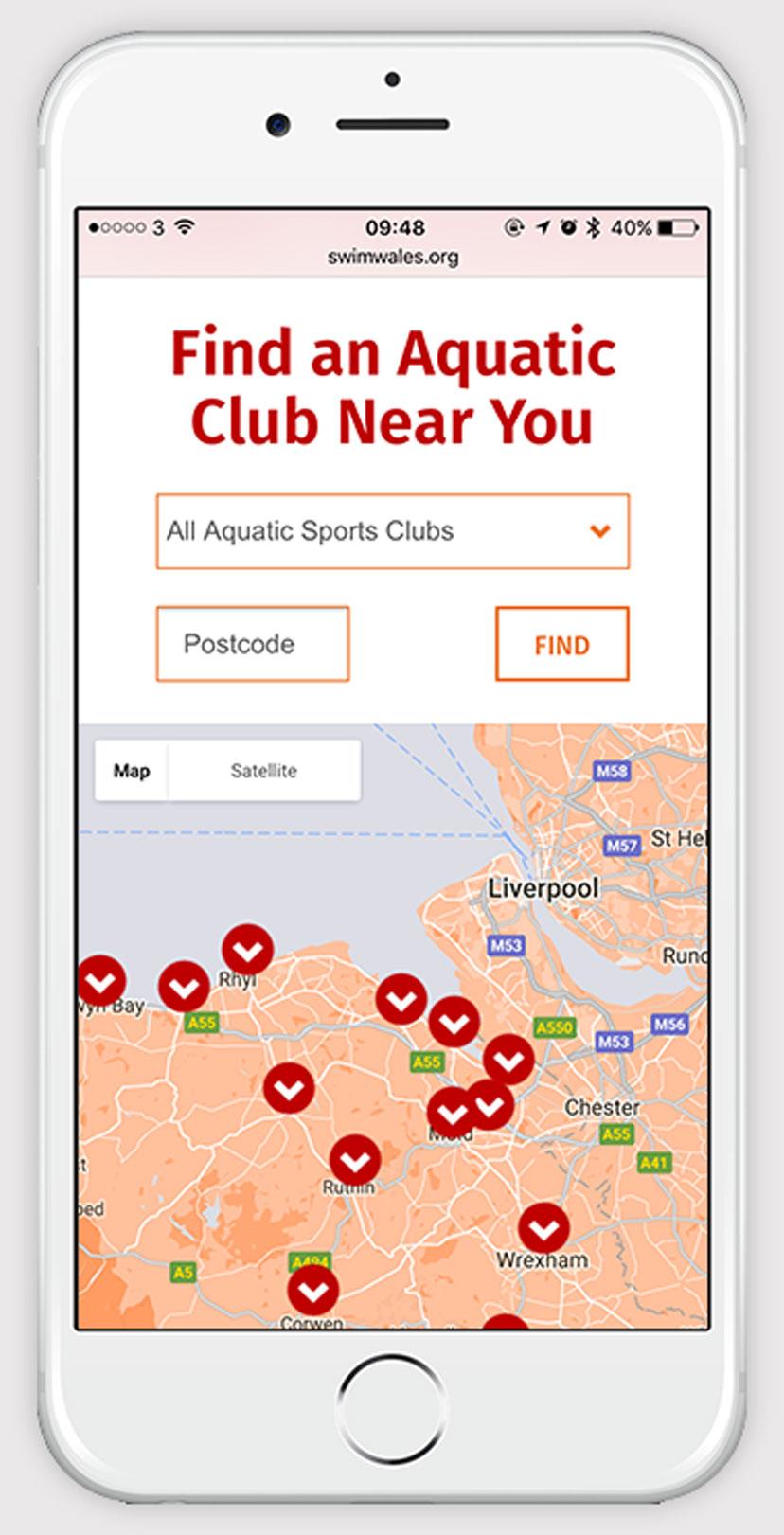 Swim Wales Club finder on iPhone